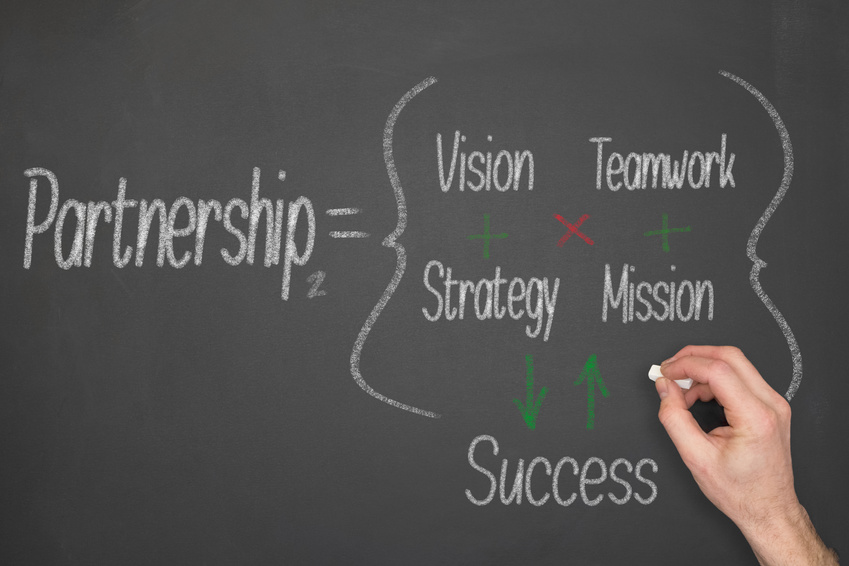 Partnership concept formula on a chalkboard